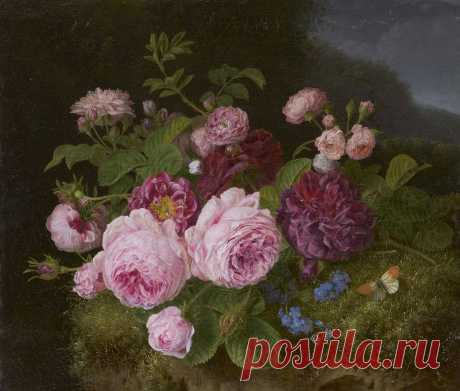 Henriëtte Geertruida Knip 1783-1842 Roses on a forest ground, oil on canvas