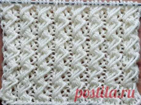 Вязание спицами. Вертикальный узор для пуловера , свитера, кардигана, жилета
