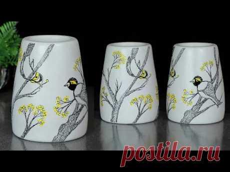 Handmade flower vase Look Like Ceramic flower vase    Cement flower vase - Gypsum flower vase making