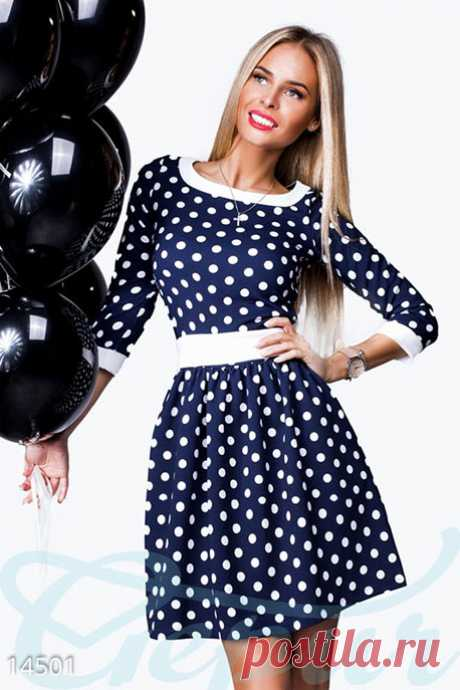 Gepur | Нежное платье клеш арт. 14501 Цена от производителя, достоверные описание, отзывы, фото ,Цвет:темно-синий, горох и пояс - белый