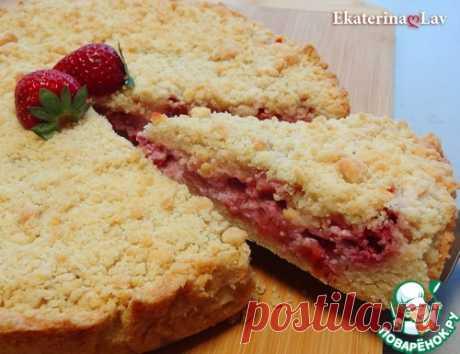 Насыпной пирог с клубникой и рикоттой – кулинарный рецепт