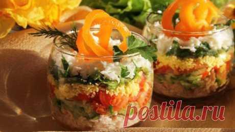 Необычный слоеный салат с овощами и курицей » Вкусно и полезно
