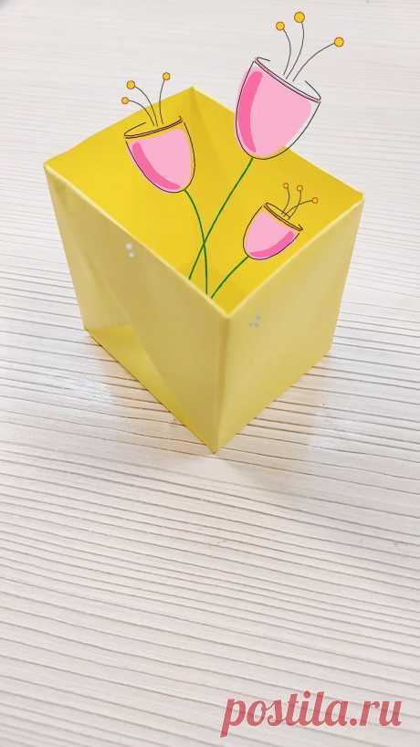 Коробочка оригами из бумаги своими руками 🌸 Видео мастер-класс