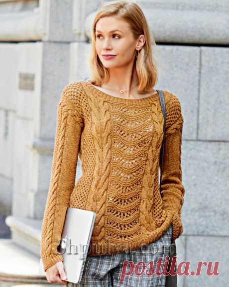 Пуловер с ажурными узорами и косами спицами - SHPULYA.com