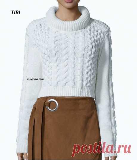 Короткий вязаный свитер | Вяжем с Лана Ви