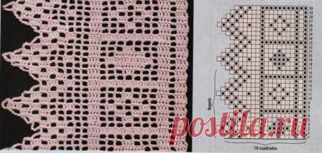 Подборка узоров для вязаной кайма