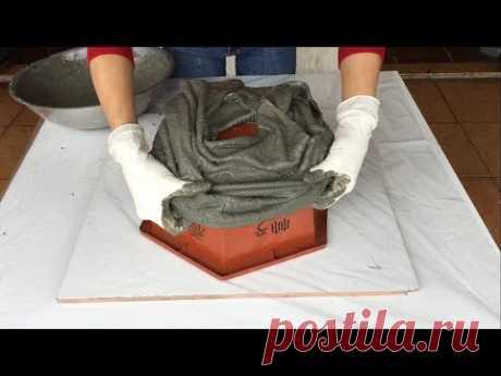 Идея Изготовления Шестиугольных Горшков Из Цемента И Старой Одежды / Как Сделать Простой И Легкий В Домашних Условиях