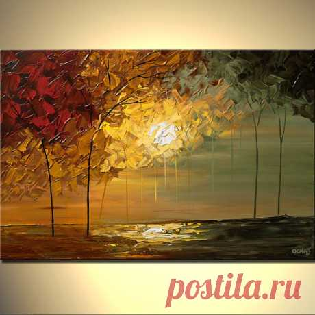 """Items similar to Sunset Landscape Painting Contemporary Abstract Blooming Trees Painting Texture by Osnat - MADE-TO-ORDER - 40""""x30"""" on Etsy"""