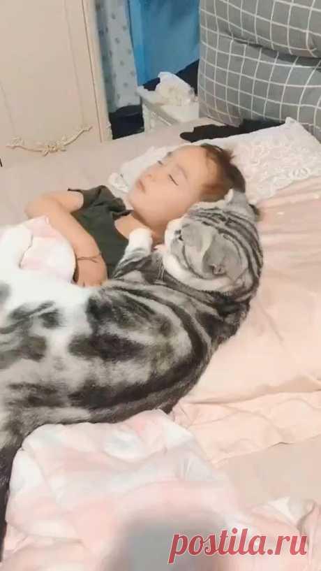 cute girl and baby sleep together