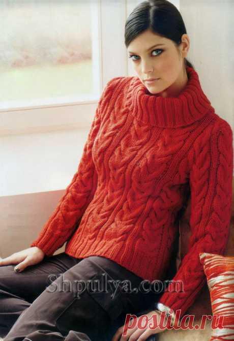 Красный свитер с косами — Shpulya.com - схемы с описанием для вязания спицами и крючком