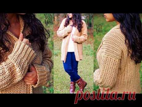 Comfy Cozy Cardigan - Beginner Friendly Crochet Sweater Pattern   Yay For Yarn