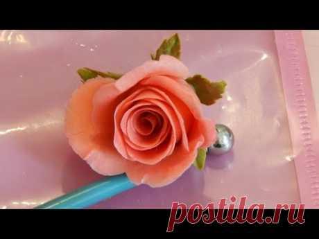 Быстрая роза из холодного фарфора МК.  Раскрытая роза, ускоренный метод лепки бутона
