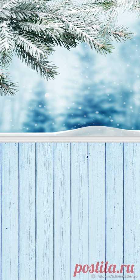 Фотофон Зима ветка ель 50х100 см