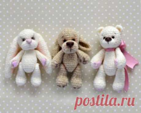 Tiny animals of an amiguruma. Schemes and descriptions for knitting of toys a hook! A free master class in knitting of little animals a hook from Maria Gavrilova. You learn how to connect a bear, a doggie and the hare from the description of the scheme …