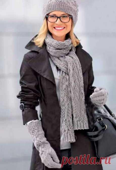 МК по вязанию спицами красивых серых женских перчаток с подробным описанием и схемой