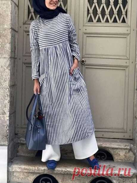 Women Basic Stripe Long Sleeve Pockets Cotton Maxi Dress - US$21.99