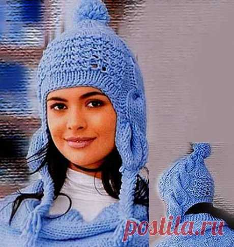 Снежная Королева — вязание спицами шапки с ушками | ВЯЗАНИЕ ШАПОК: женские шапки спицами и крючком, мужские и детские