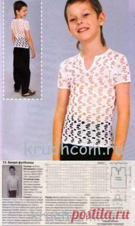 Белая футболка для мальчика крючком | Вязание крючком, схемы вязания, бесплатное вязание крючком