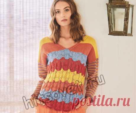 Цветной полосатый пуловер спицами - Хитсовет