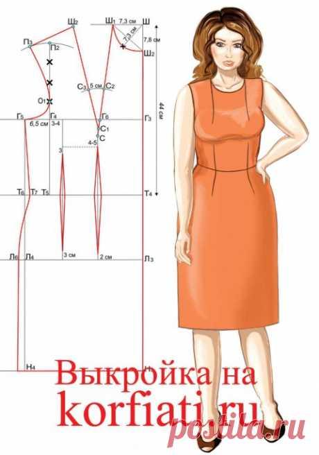 Выкройка платья на большой размер от А. Корфиати
