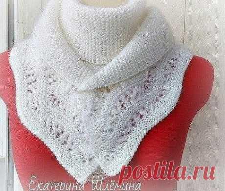 Белый шарф с каймой (Вязание спицами) — Журнал Вдохновение Рукодельницы