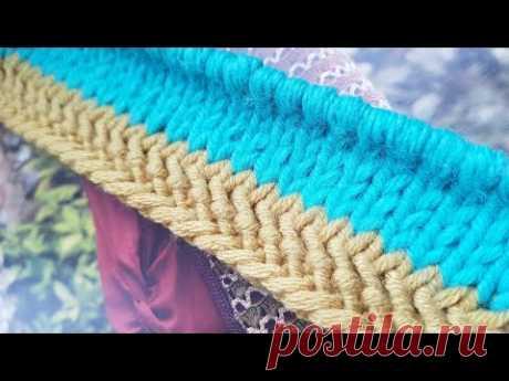 Оформляем край изделия на спицах 🍂 knitting pattern.