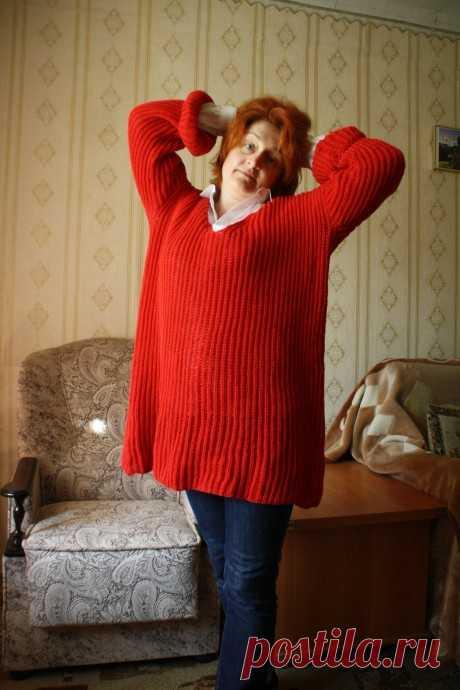 Пуловер оверсайз английской резинкой