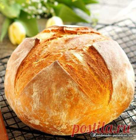 Tasty home-made bread in an oven