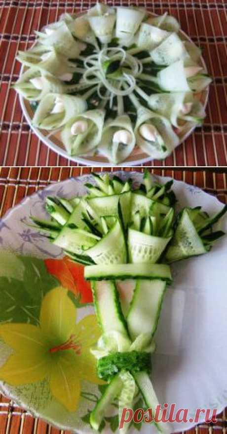 "Salad ornament — ""Букет"" from fresh cucumbers."