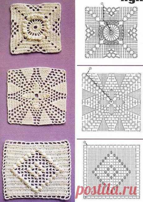 20 ажурных квадратных мотивов крючком со схемами | Факультет рукоделия | Яндекс Дзен