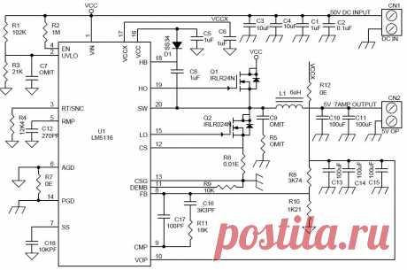 Мощный понижающий DC-DC преобразователь 5 В/7 А с широким диапазоном входного напряжения - LM5116