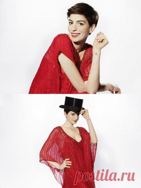Enn Heteuey (Anne Hathaway) la elección de las fotografías