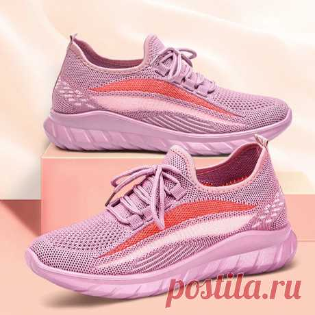 Women Running Knitted Stripe Detail Breathable Slip Resistant Casual Sneakers - US$25.99