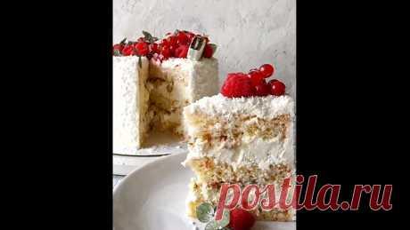 """ТОРТ """"КОКОС"""".   Для приготовления торта нам понадобится: Бисквит; Ганаш на белом шоколаде; Миндаль; Кокосовый крем-чиз; Для пропитки: кокосовое, ванильное или миндальное молоко (у меня фирмы Alpro) + плюс сахарный сироп (по желанию); Кокосовая стружка для покрытия торта (100-150 гр); Крем на основе сыра маскарпоне с кокосом; Крем для покрытия (по желанию).  - Ингредиенты: ⠀ Бисквит с кокосом (на высокую форму 16-18 см): 5 яиц, 165 гр. муки, 50 гр. сливочного масла, 170 гр...."""