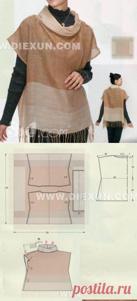Шитье | простые выкройки | простые вещиюТуника из платка 130х130 см