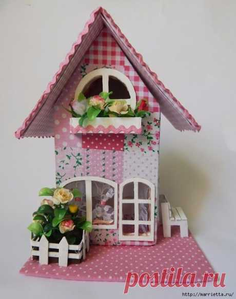 Декоративный домик из картона. Шаблон.