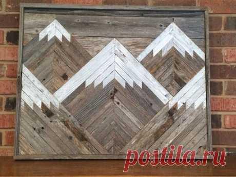 Rustic Mountain Tops Reclaimed Wood Wall Art Single Piece