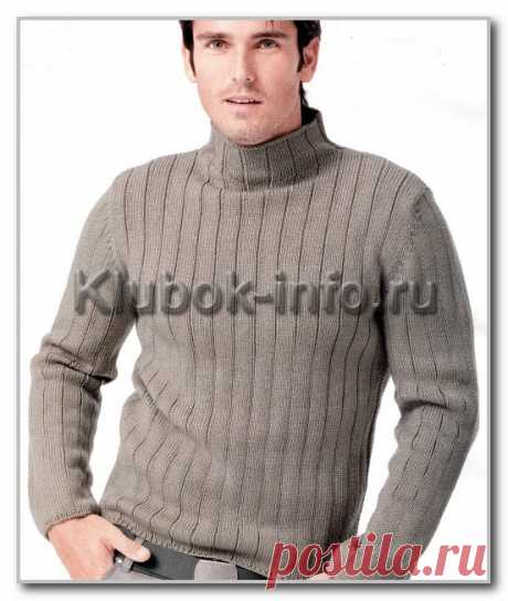 Вязание спицами для мужчин. Однотонный свитер-водолазка