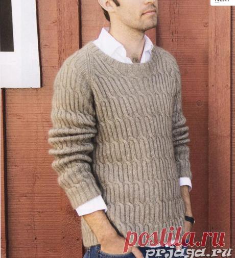 Мужской пуловер реглан спицами с косами.