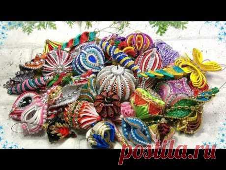 Мои новогодние мастер классы игрушки короны снежинки канзаши / diy christmas ornaments