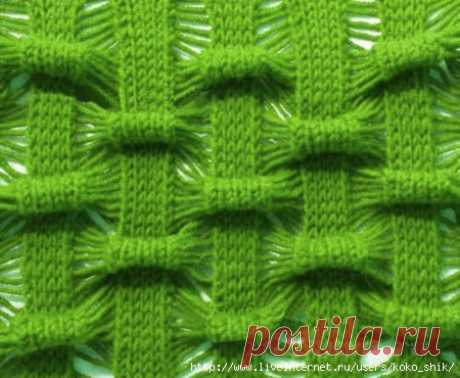 Вязание спицами - Красивый узор с эффектом Клоке