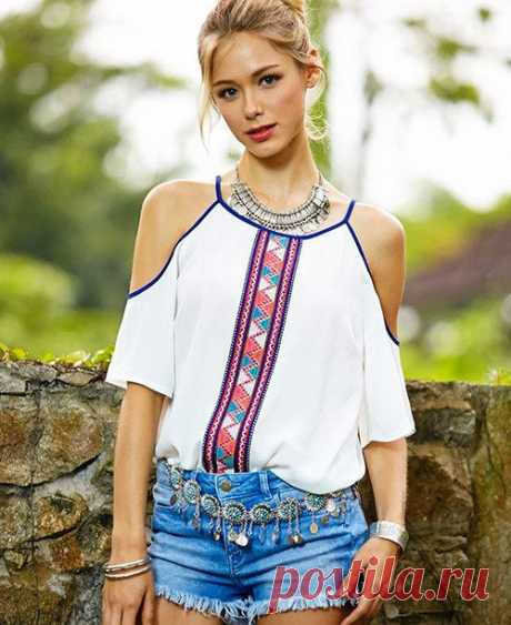 Blouse with open shoulders (ready patterns) \/ Simple patterns \/ Second Street