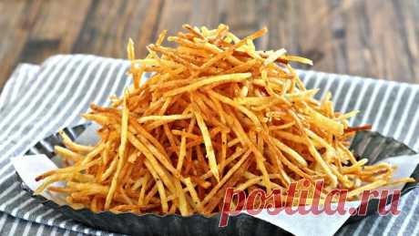 Хрустящий картофель «Пай» в домашних условиях - лучше чипсов! Картофель пай – эта та же жареная картошка, разновидность картофеля фри, только очень тоненько нарезанная. Благодаря этому закуска получается хрустящая
