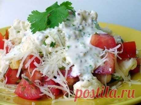 Салат из цветной капусты с помидорами, который подойдет для правильного питания