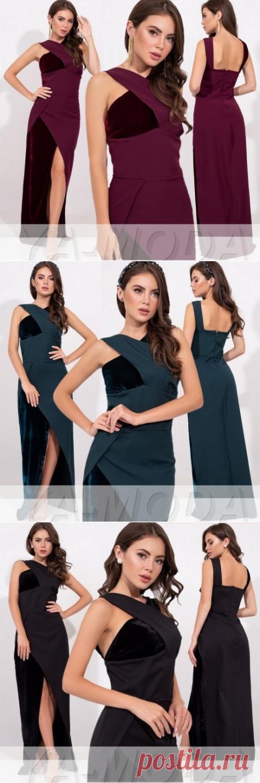 ✦Длинное вечернее платье с декором на груди купить недорого