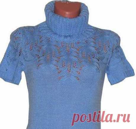 Пуловер с узором медвежьи лапки спицами. Ажурный узор медвежьи лапки |
