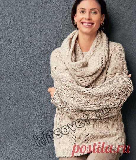 Свободный джемпер и шарф петля - Хитсовет Вязание спицами для женщин свободного джемпера и шарфа петли со схемой и пошаговым описанием.