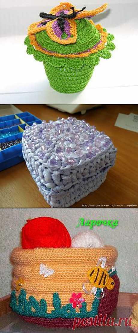 коробки вязаные из пакетов