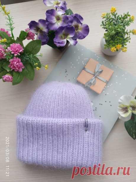Шапка из пуха норки с двойным отворотом (Вязание спицами) – Журнал Вдохновение Рукодельницы