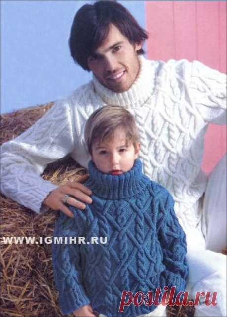 Для взрослого и юного мужчин. Теплые зимние свитеры с косами. Спицы